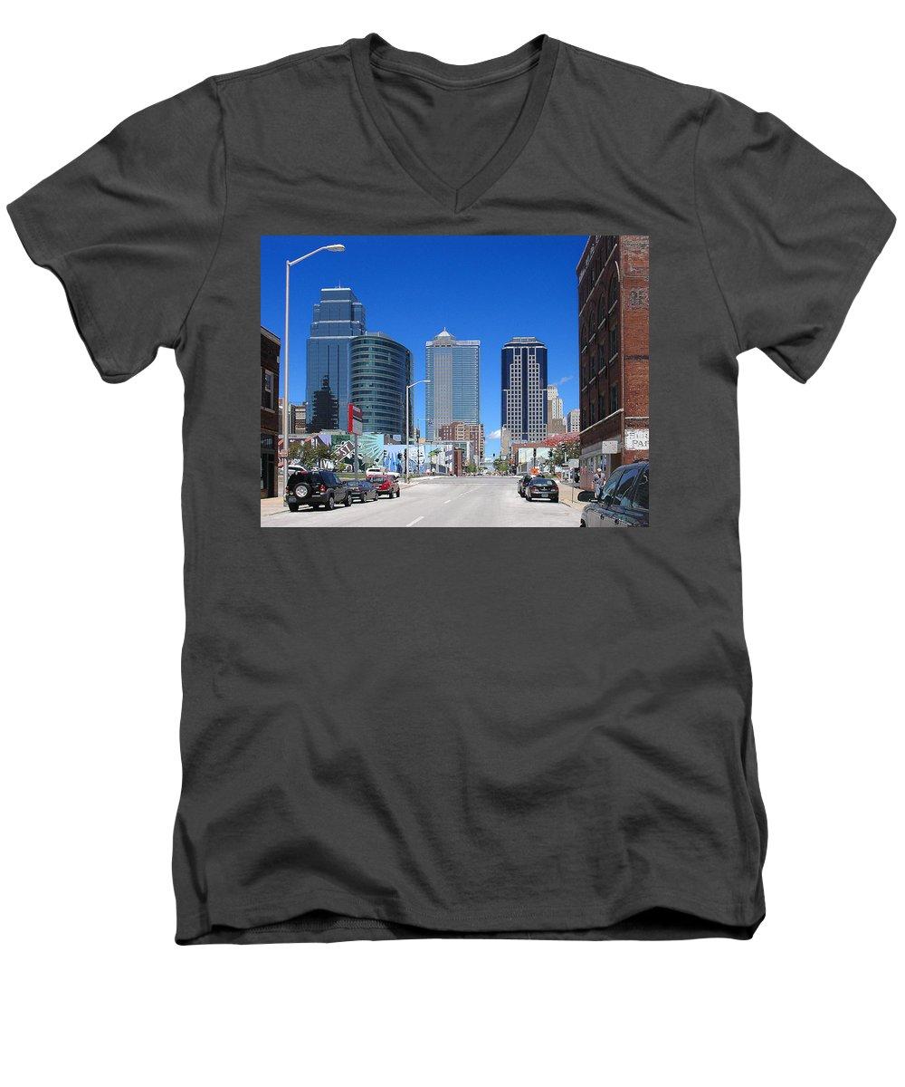 City Men's V-Neck T-Shirt featuring the photograph Downtown Kansas City by Steve Karol