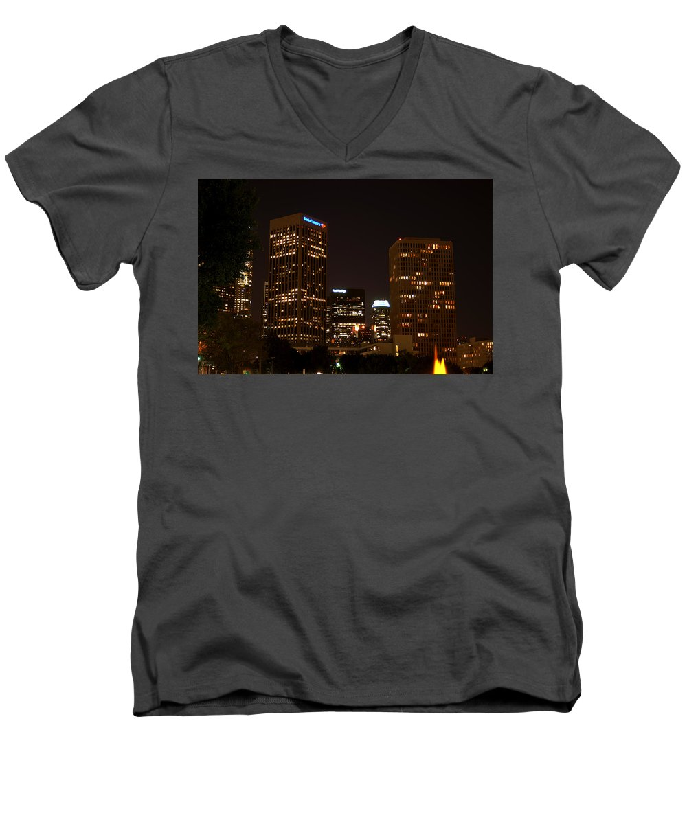 Clay Men's V-Neck T-Shirt featuring the photograph Downtown L.a. In Hdr by Clayton Bruster