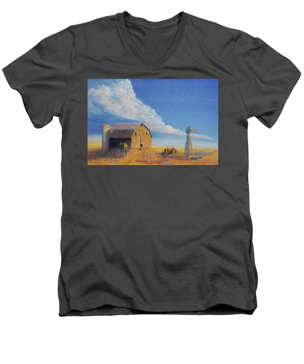 Barn Men's V-Neck T-Shirt featuring the painting Downtown Wyoming by Jerry McElroy