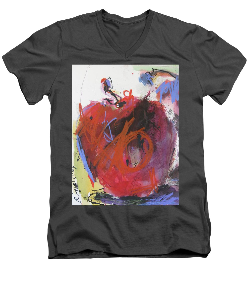 Apple Men's V-Neck T-Shirt featuring the painting Dr. Repellent by Robert Joyner