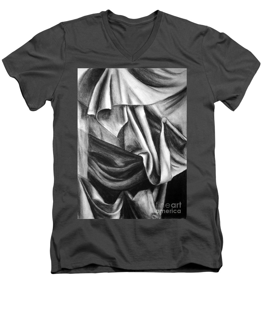 Charcoal Men's V-Neck T-Shirt featuring the drawing Drapery Still Life by Nancy Mueller