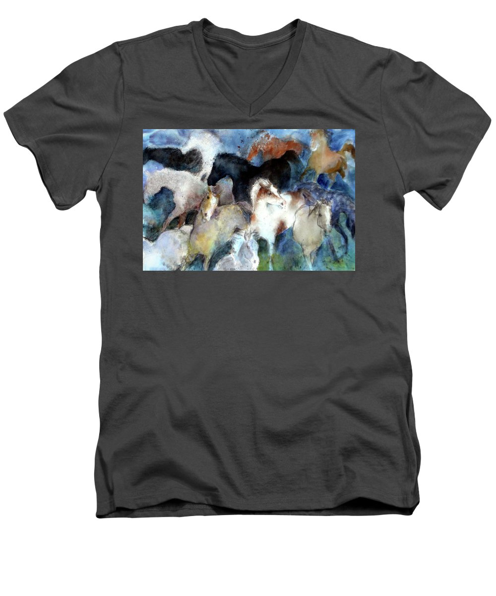 Horses Men's V-Neck T-Shirt featuring the painting Dream Of Wild Horses by Christie Michelsen
