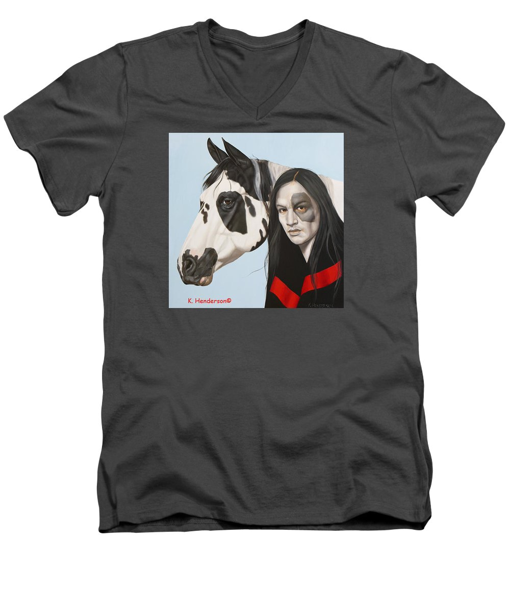 Cowgirl Men's V-Neck T-Shirt featuring the painting Dreams Await by K Henderson