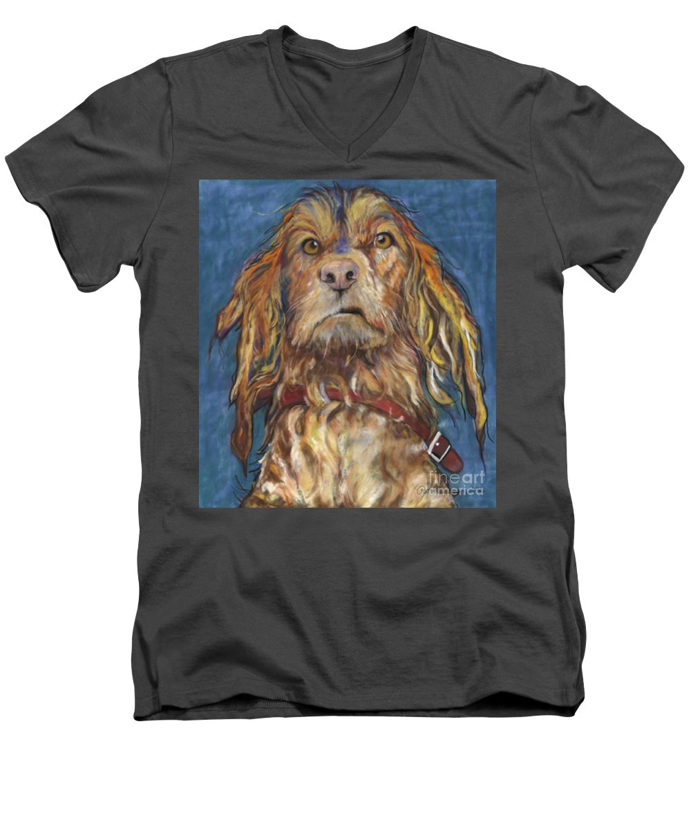 Golden Retriever Painting Men's V-Neck T-Shirt featuring the pastel Drenched by Pat Saunders-White