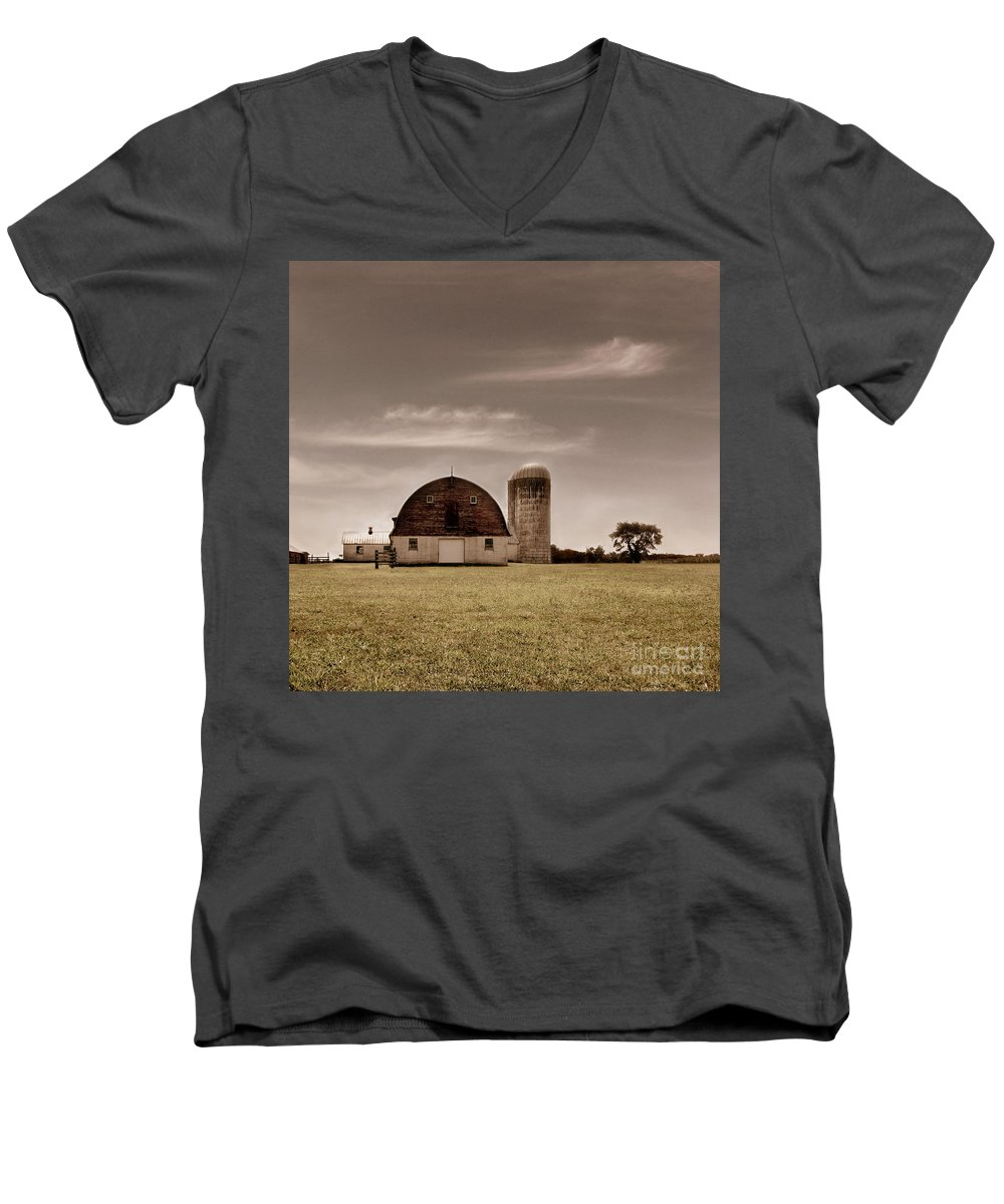 Farm Men's V-Neck T-Shirt featuring the photograph Dry Earth Crumbles Between My Fingers And I Look To The Sky For Rain by Dana DiPasquale