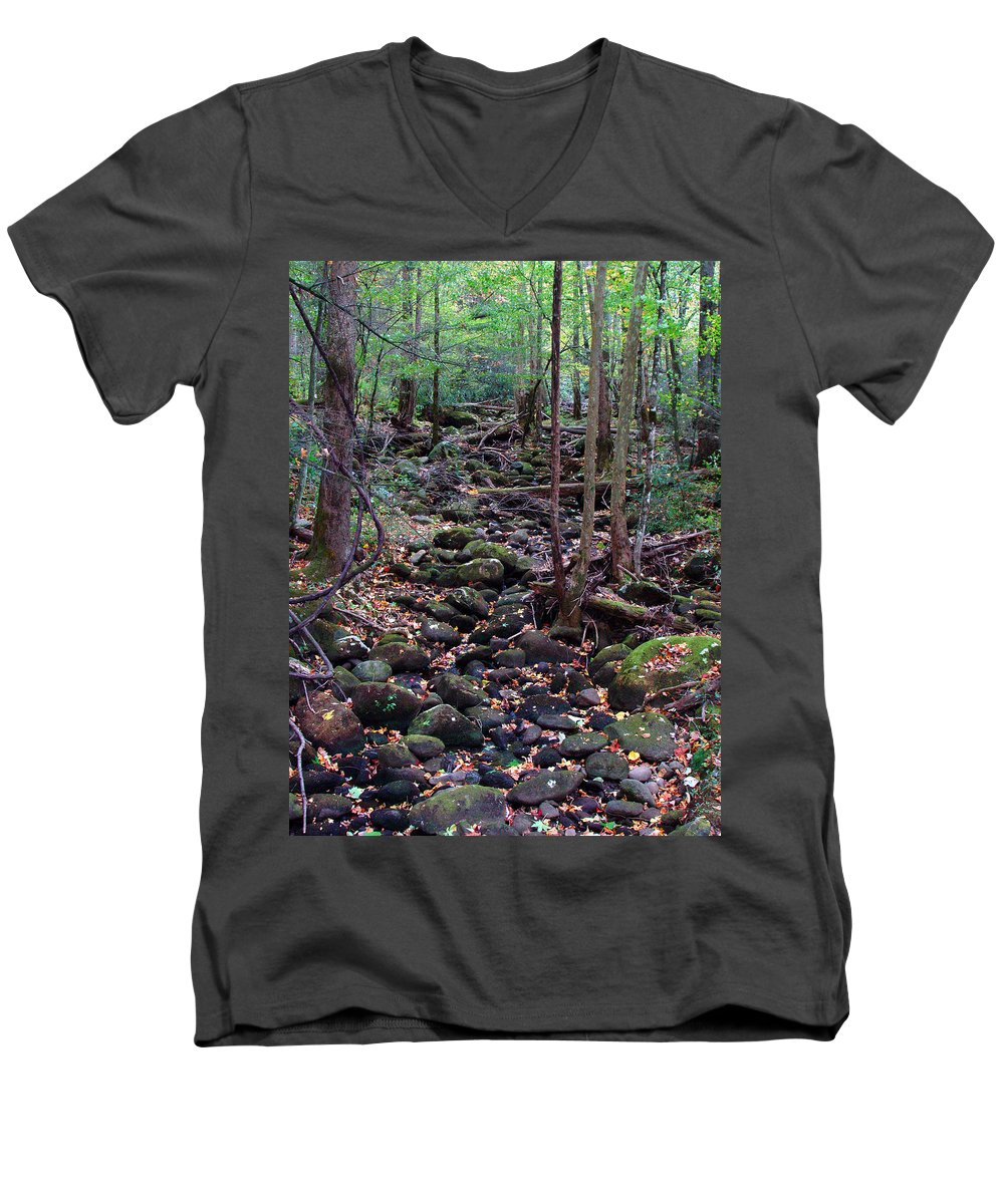 River Men's V-Neck T-Shirt featuring the photograph Dry River Bed- Autumn by Nancy Mueller
