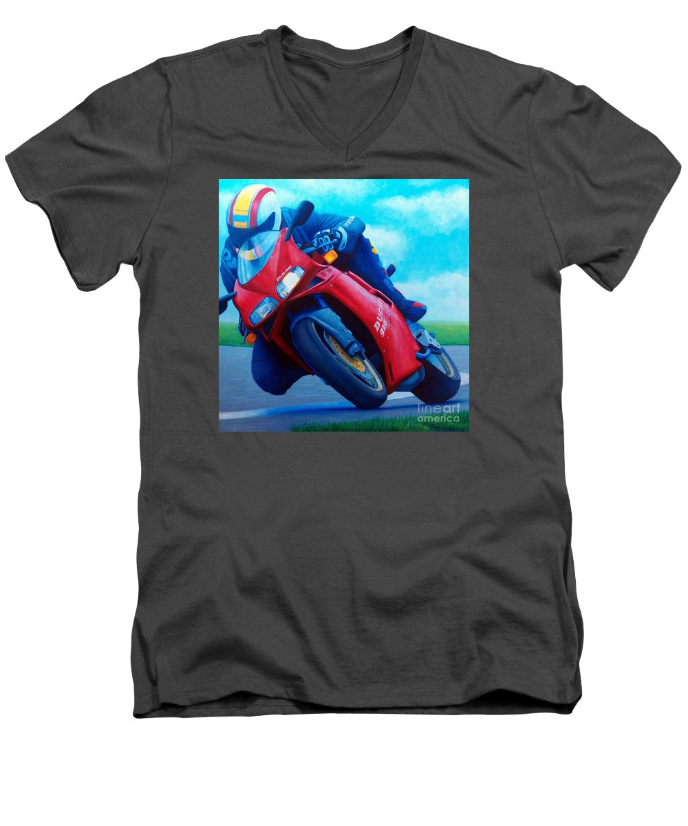Motorcycle Men's V-Neck T-Shirt featuring the painting Ducati 916 by Brian Commerford