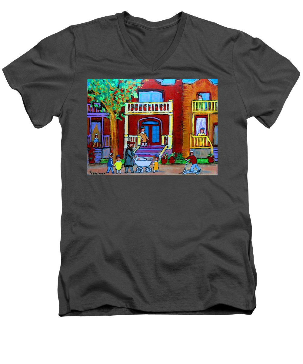 Judaica Men's V-Neck T-Shirt featuring the painting Durocher Street Montreal by Carole Spandau