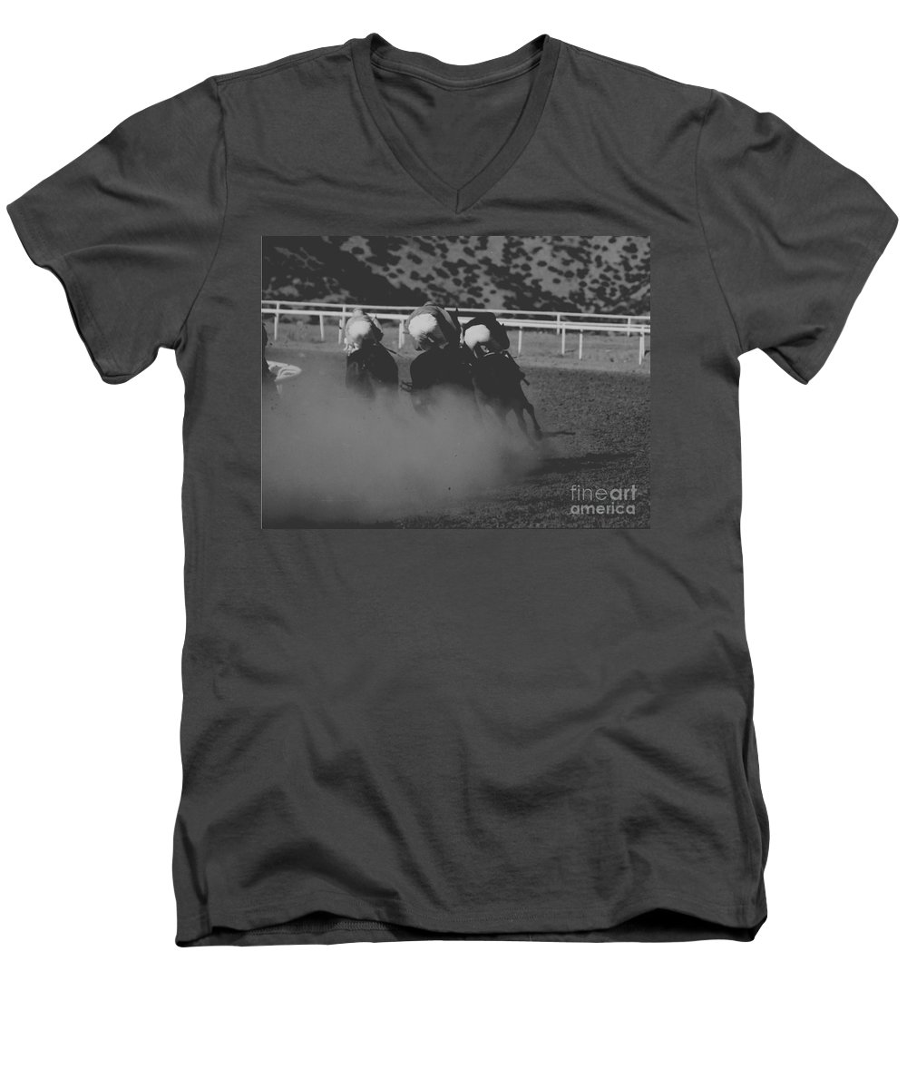 Horse Men's V-Neck T-Shirt featuring the photograph Dust And Butts by Kathy McClure