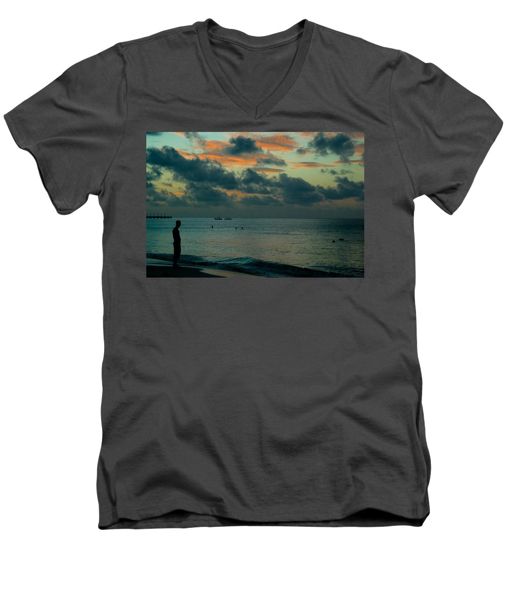 Sea Men's V-Neck T-Shirt featuring the photograph Early Morning Sea by Douglas Barnett