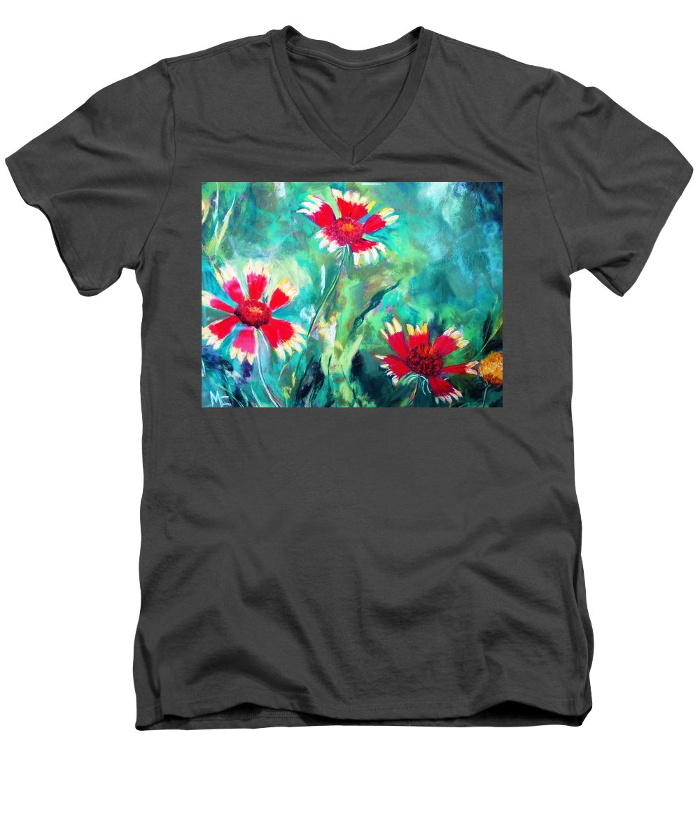 Flowers Men's V-Neck T-Shirt featuring the painting East Texas Wild Flowers by Melinda Etzold