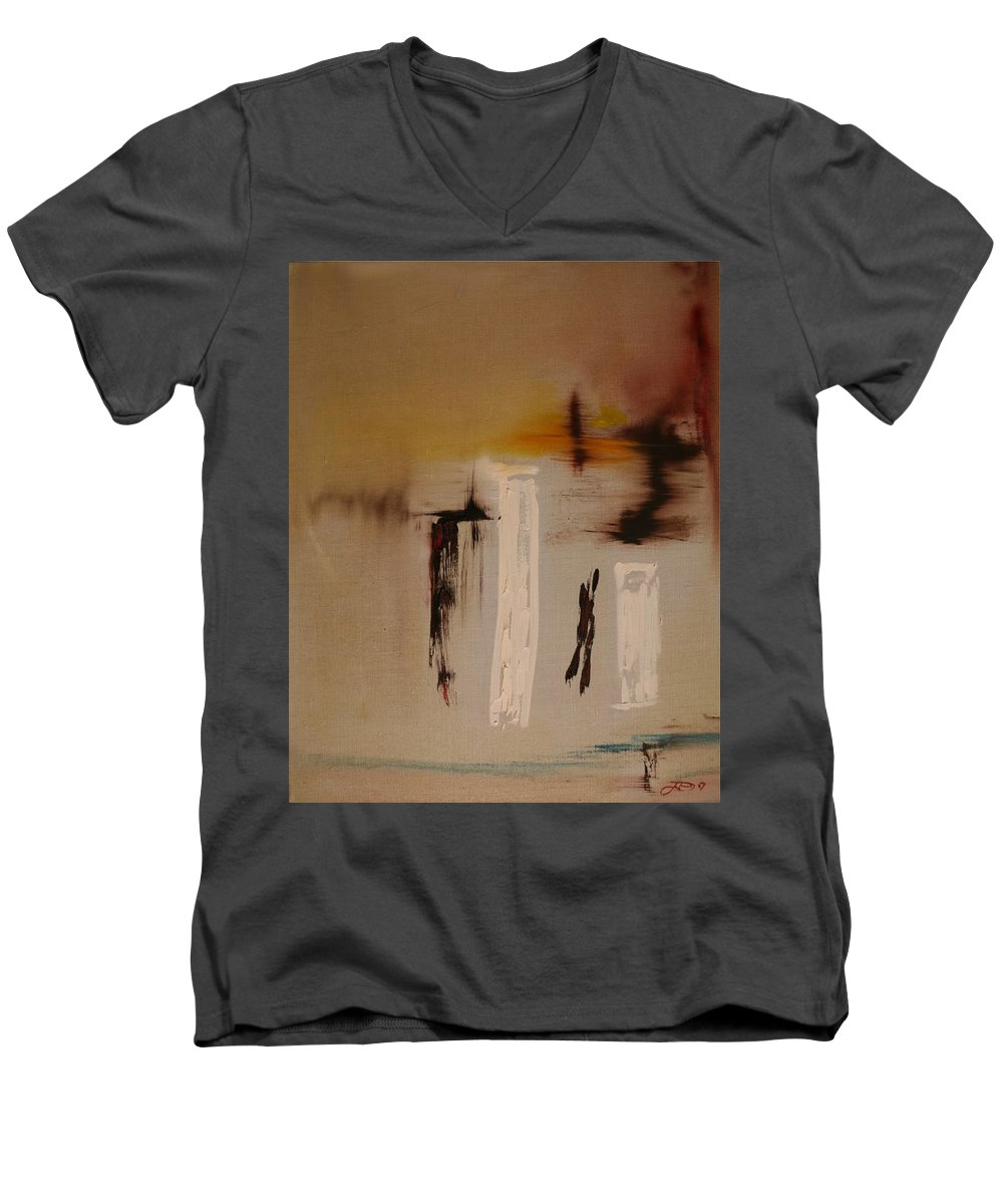 Abstract Men's V-Neck T-Shirt featuring the painting Easy by Jack Diamond