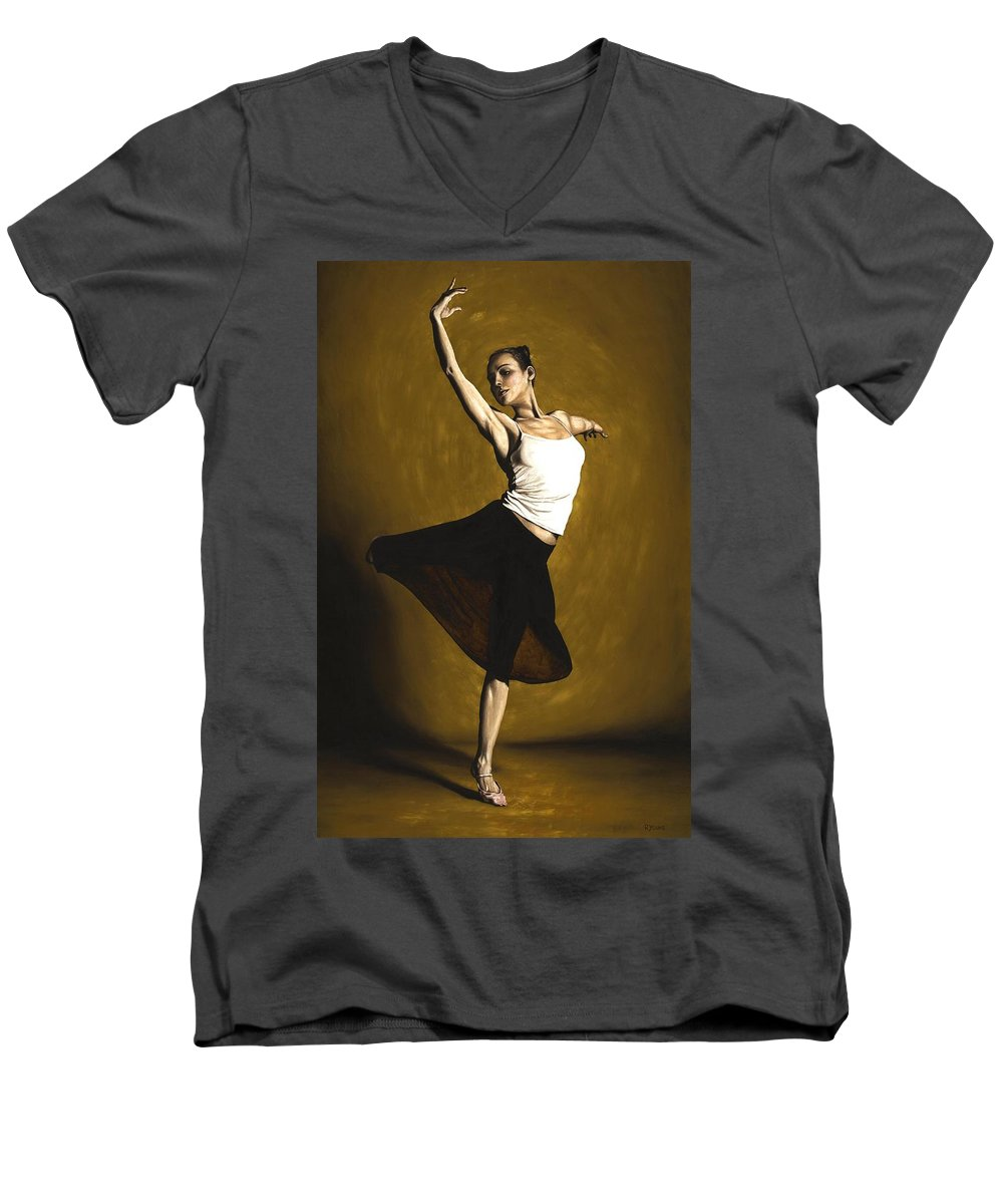 Elegant Men's V-Neck T-Shirt featuring the painting Elegant Dancer by Richard Young