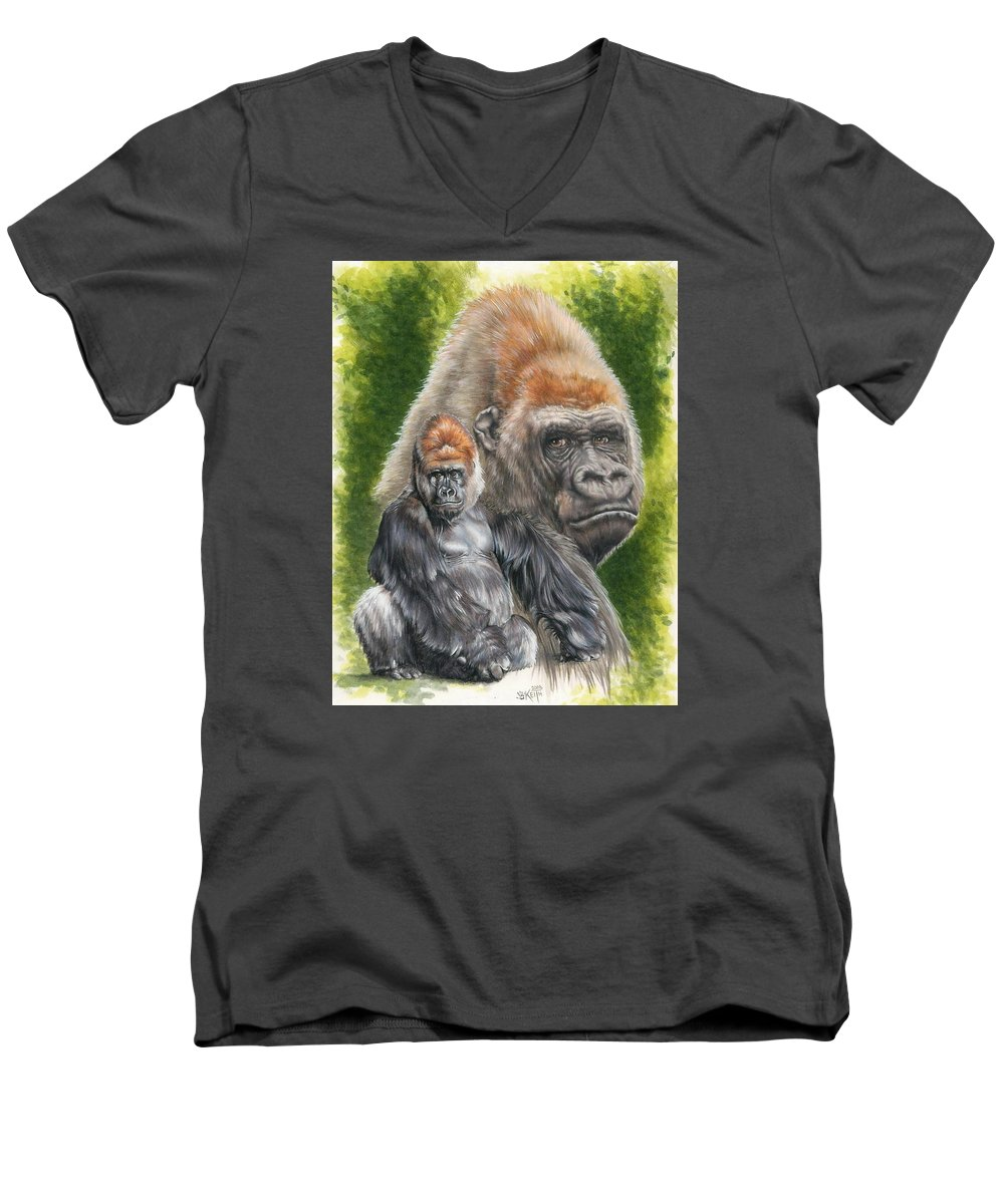 Gorilla Men's V-Neck T-Shirt featuring the mixed media Eloquent by Barbara Keith