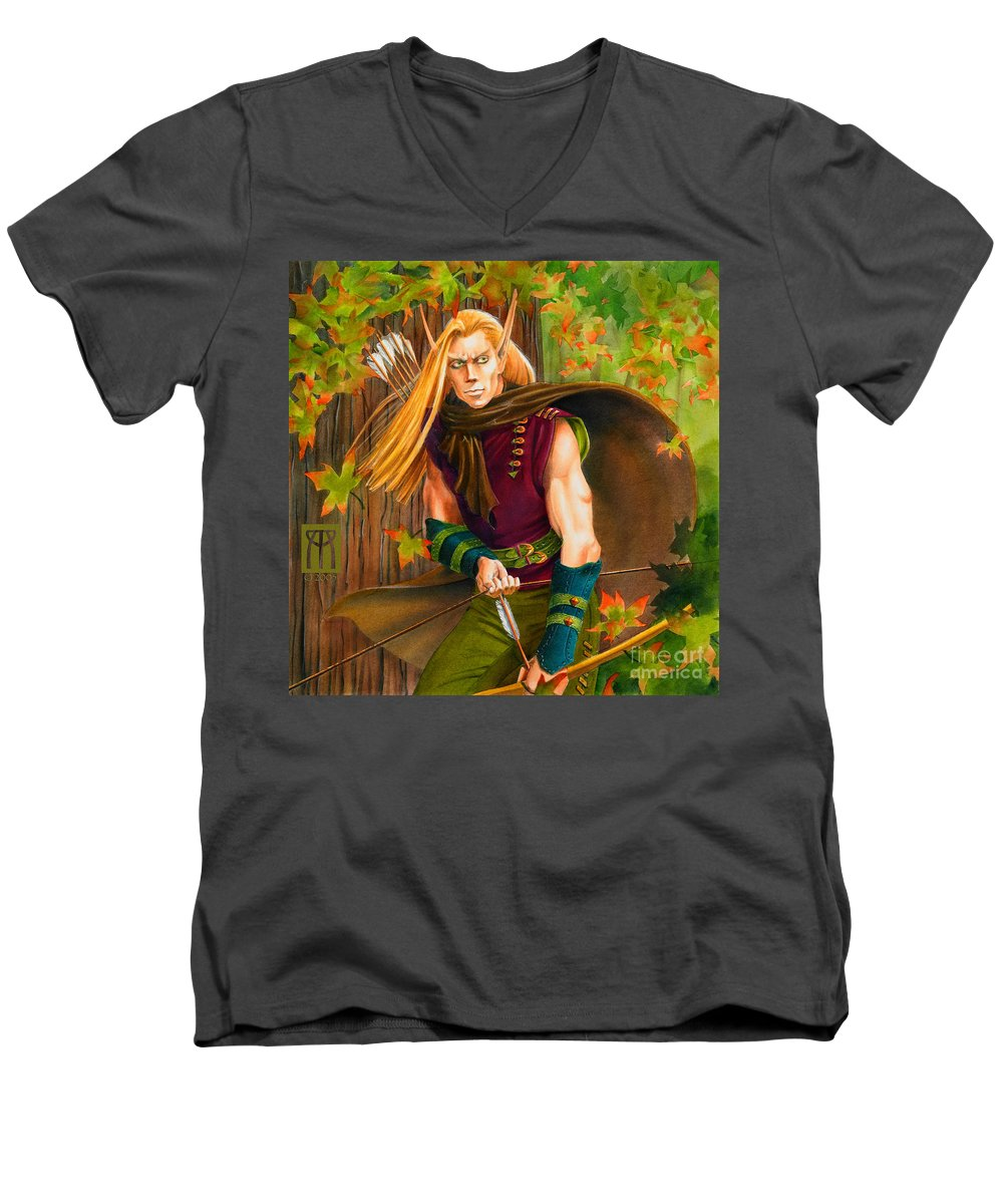 Elf Men's V-Neck T-Shirt featuring the painting Elven Hunter by Melissa A Benson