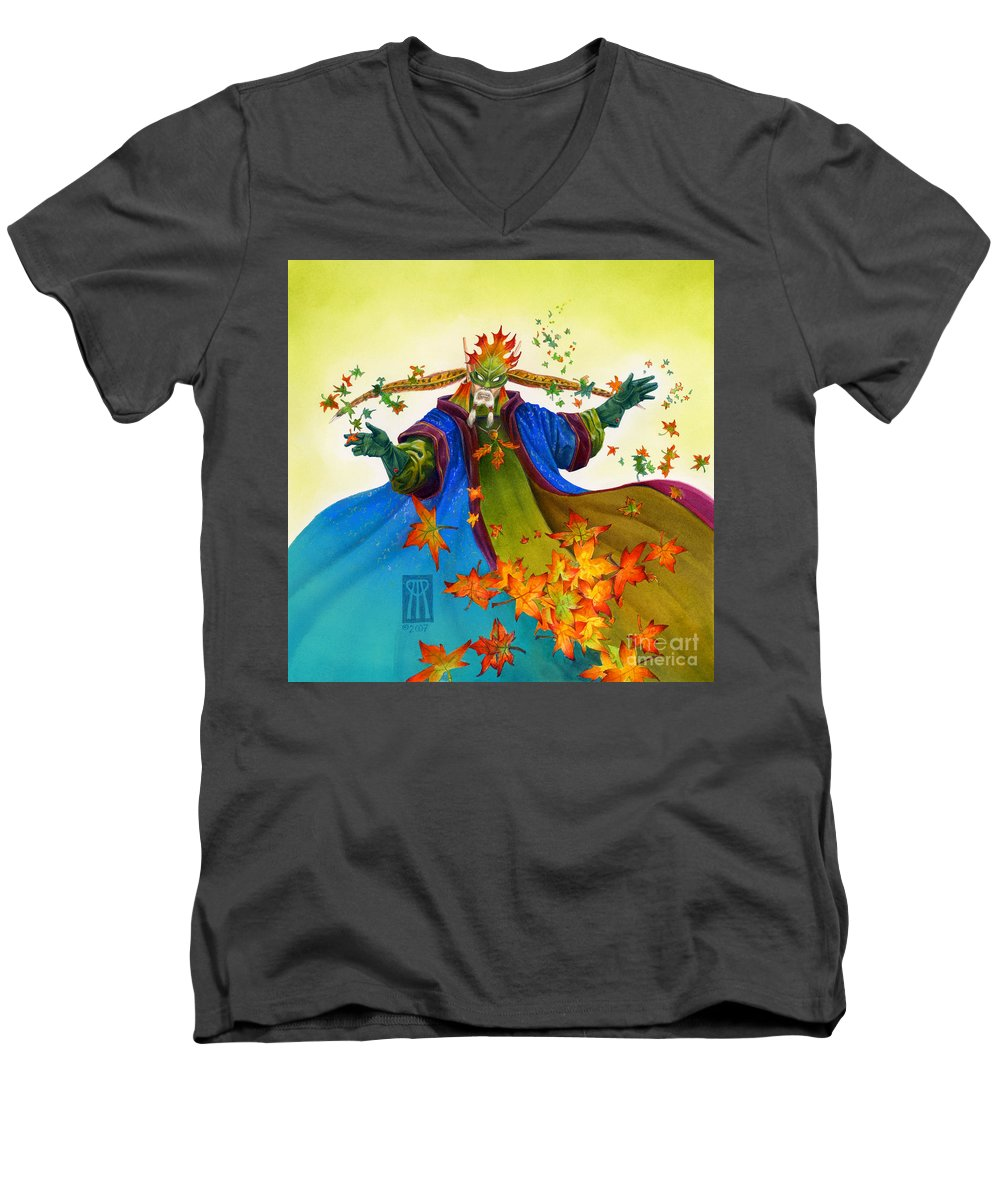 Elf Men's V-Neck T-Shirt featuring the painting Elven Mage by Melissa A Benson