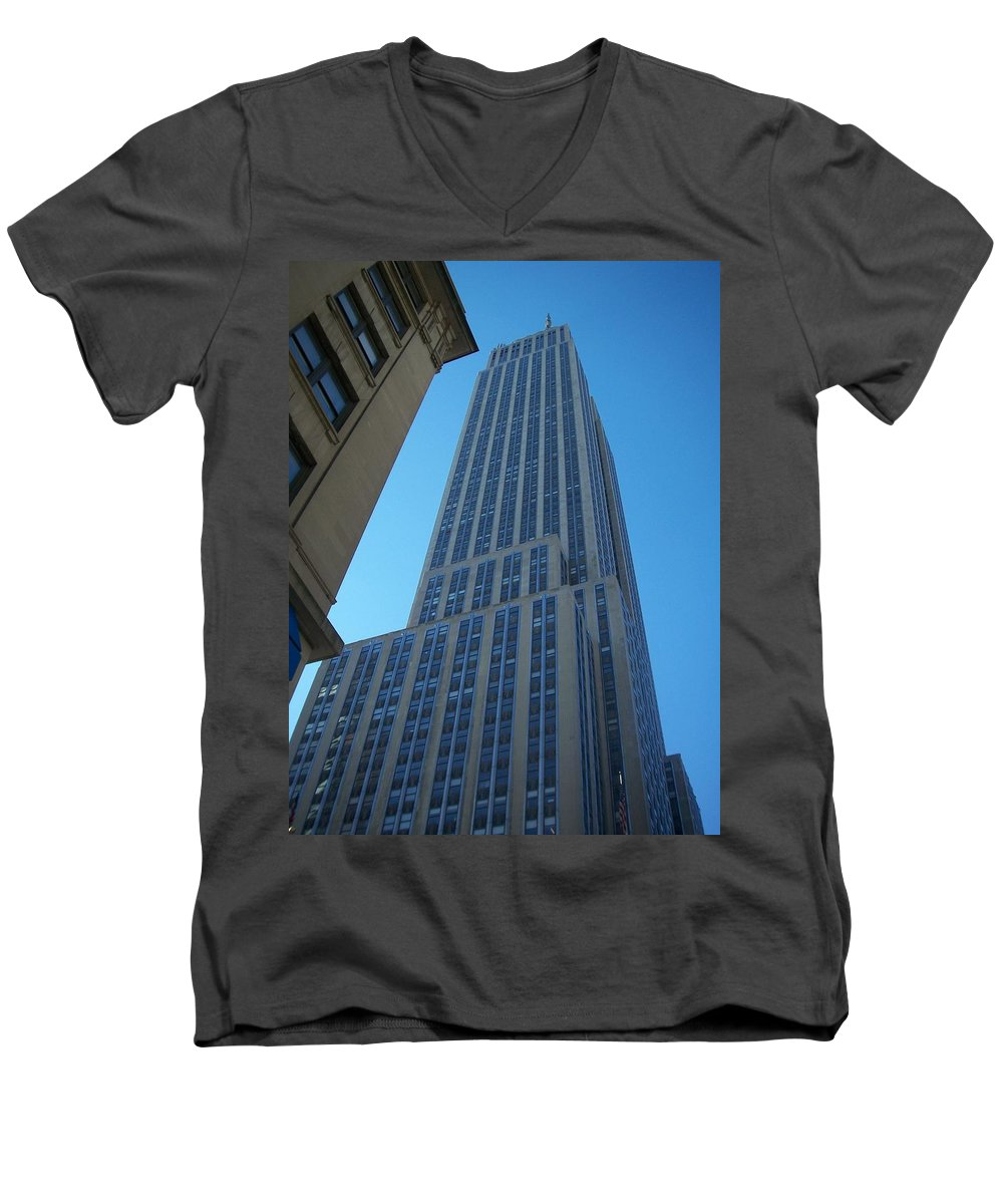 Emoire State Building Men's V-Neck T-Shirt featuring the photograph Empire State 2 by Anita Burgermeister