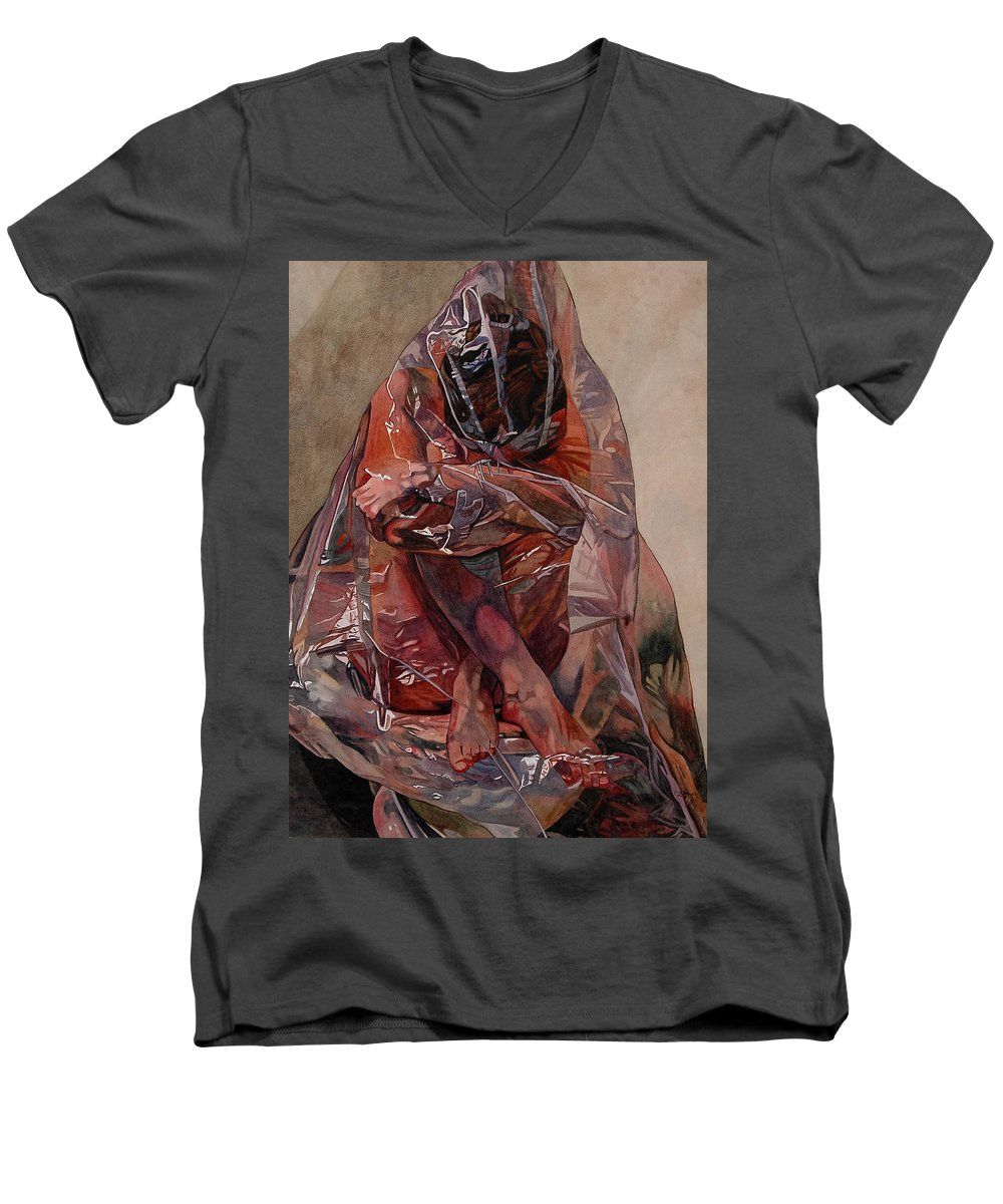 Nude Men's V-Neck T-Shirt featuring the painting Encompassed by Valerie Patterson