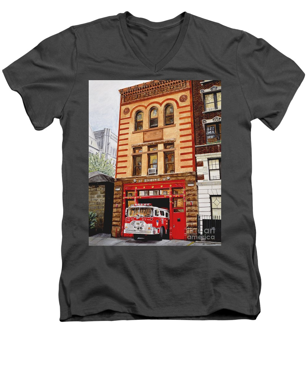 Firehouse Men's V-Neck T-Shirt featuring the painting Engine Company 47 by Paul Walsh