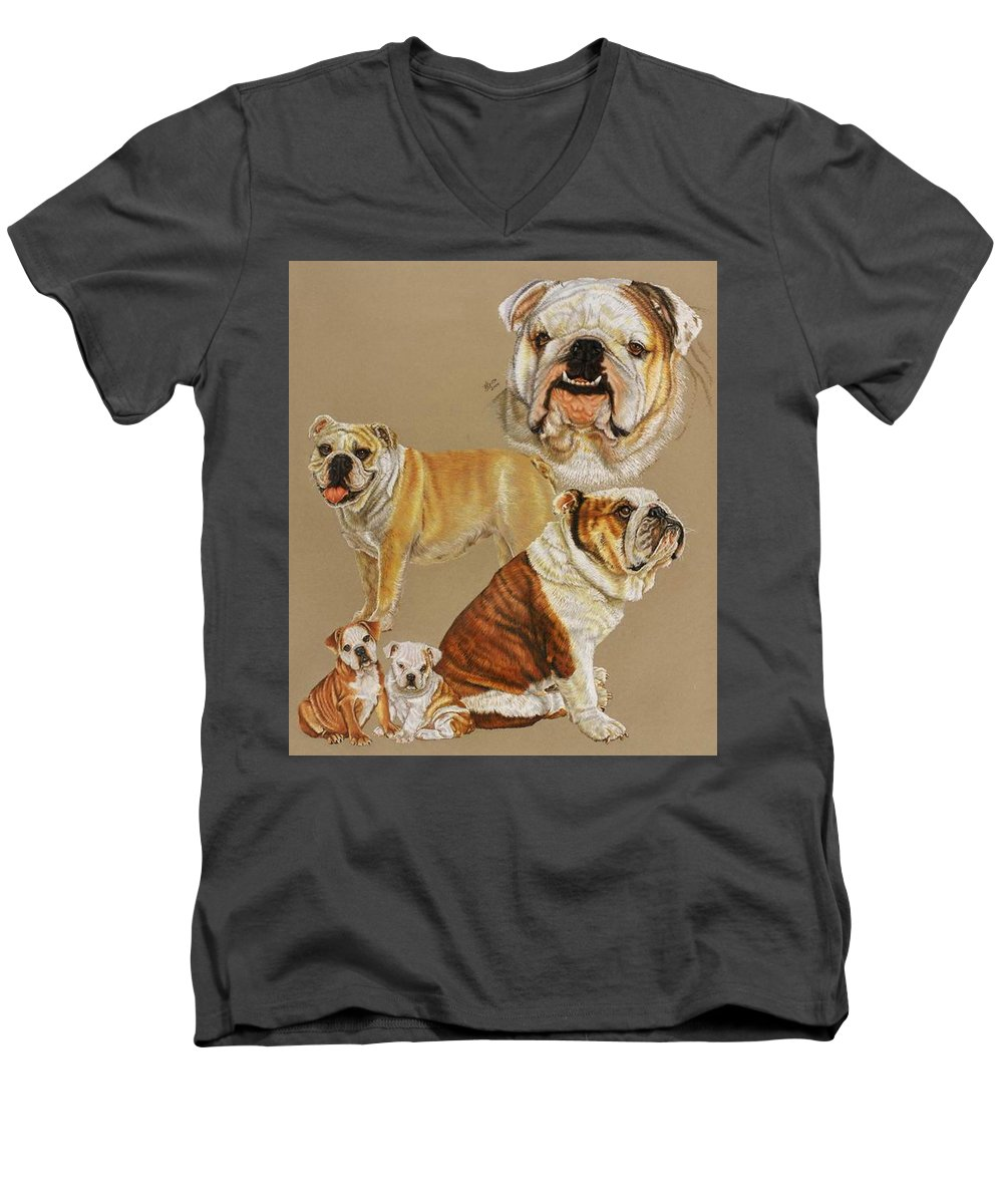 Dog Men's V-Neck T-Shirt featuring the drawing English Bulldog by Barbara Keith