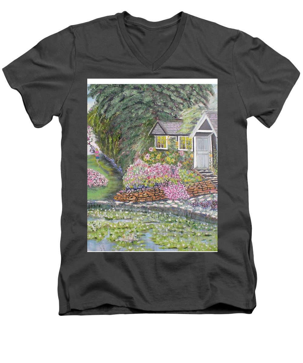 Cottage Men's V-Neck T-Shirt featuring the painting English Cottage by Hal Newhouser