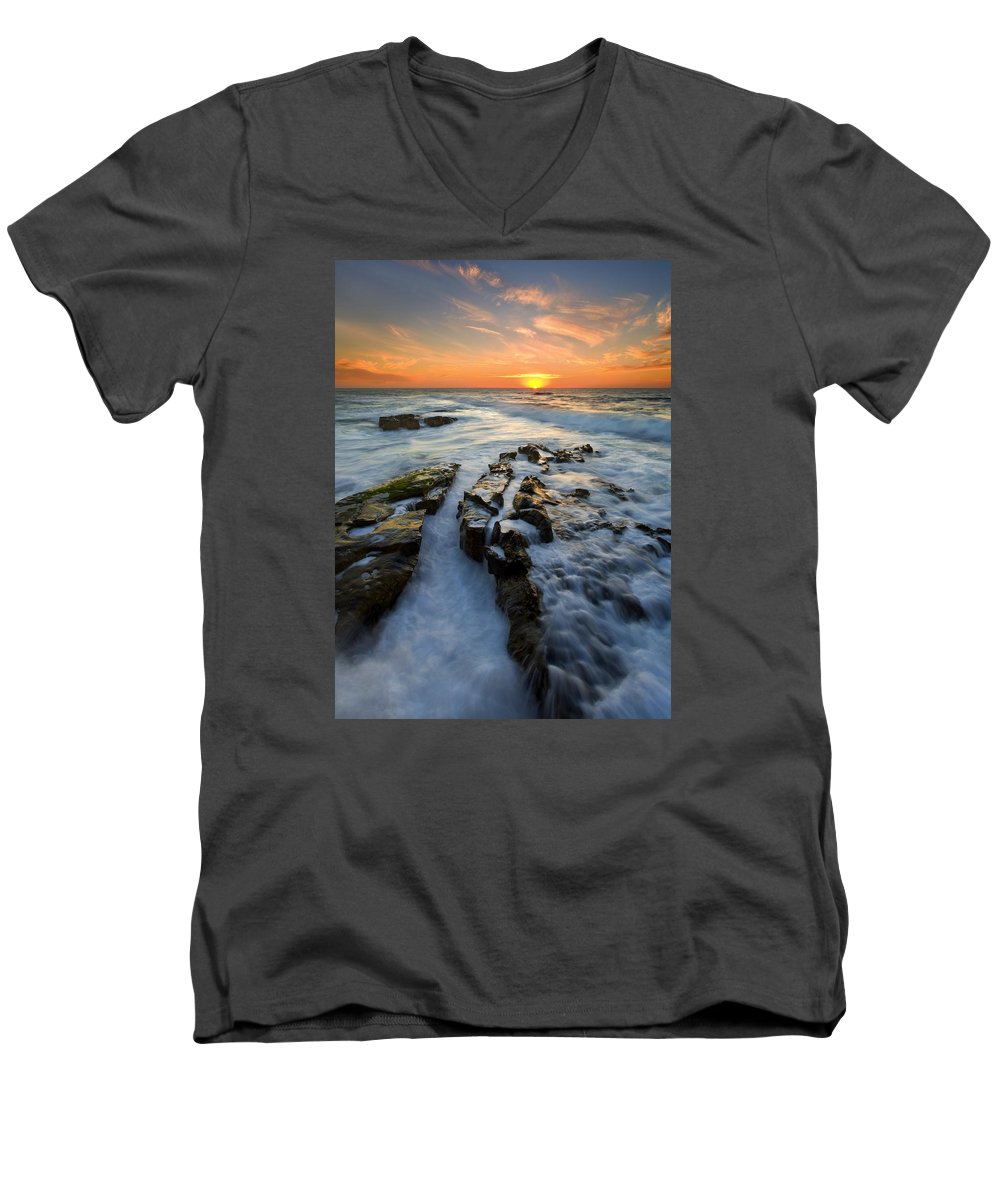 Sunset Men's V-Neck T-Shirt featuring the photograph Engulfed by Mike Dawson
