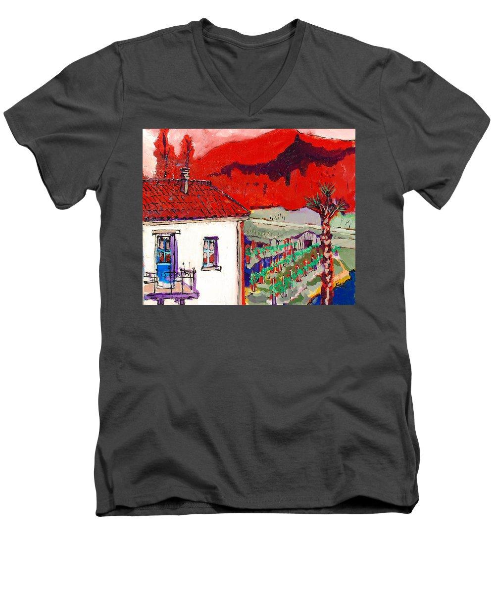 Men's V-Neck T-Shirt featuring the painting Enrico's View by Kurt Hausmann