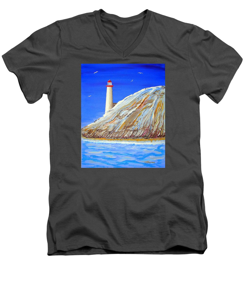 Lighthouse Men's V-Neck T-Shirt featuring the painting Entering The Harbor by J R Seymour