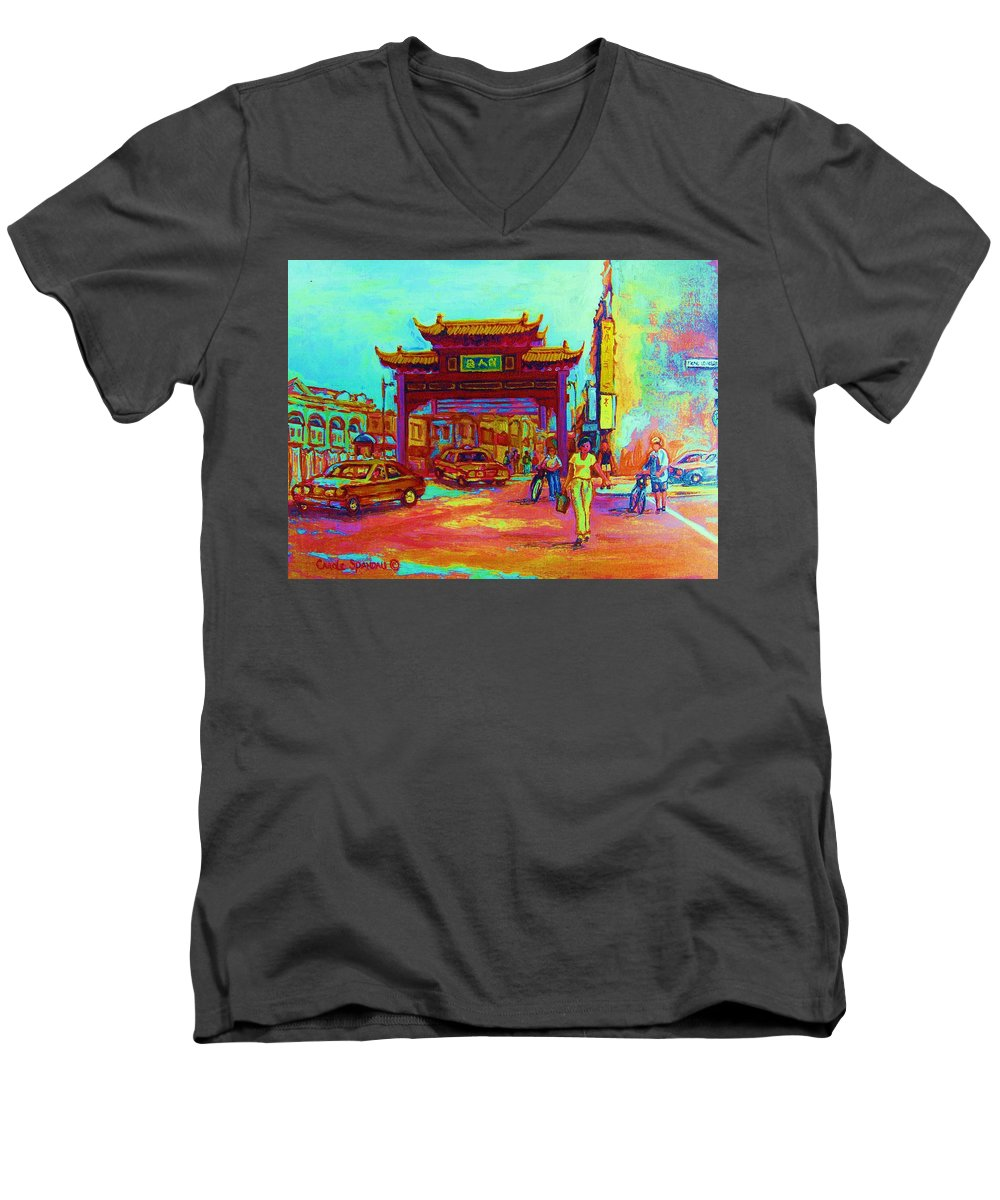 Montreal Men's V-Neck T-Shirt featuring the painting Entrance To Chinatown by Carole Spandau