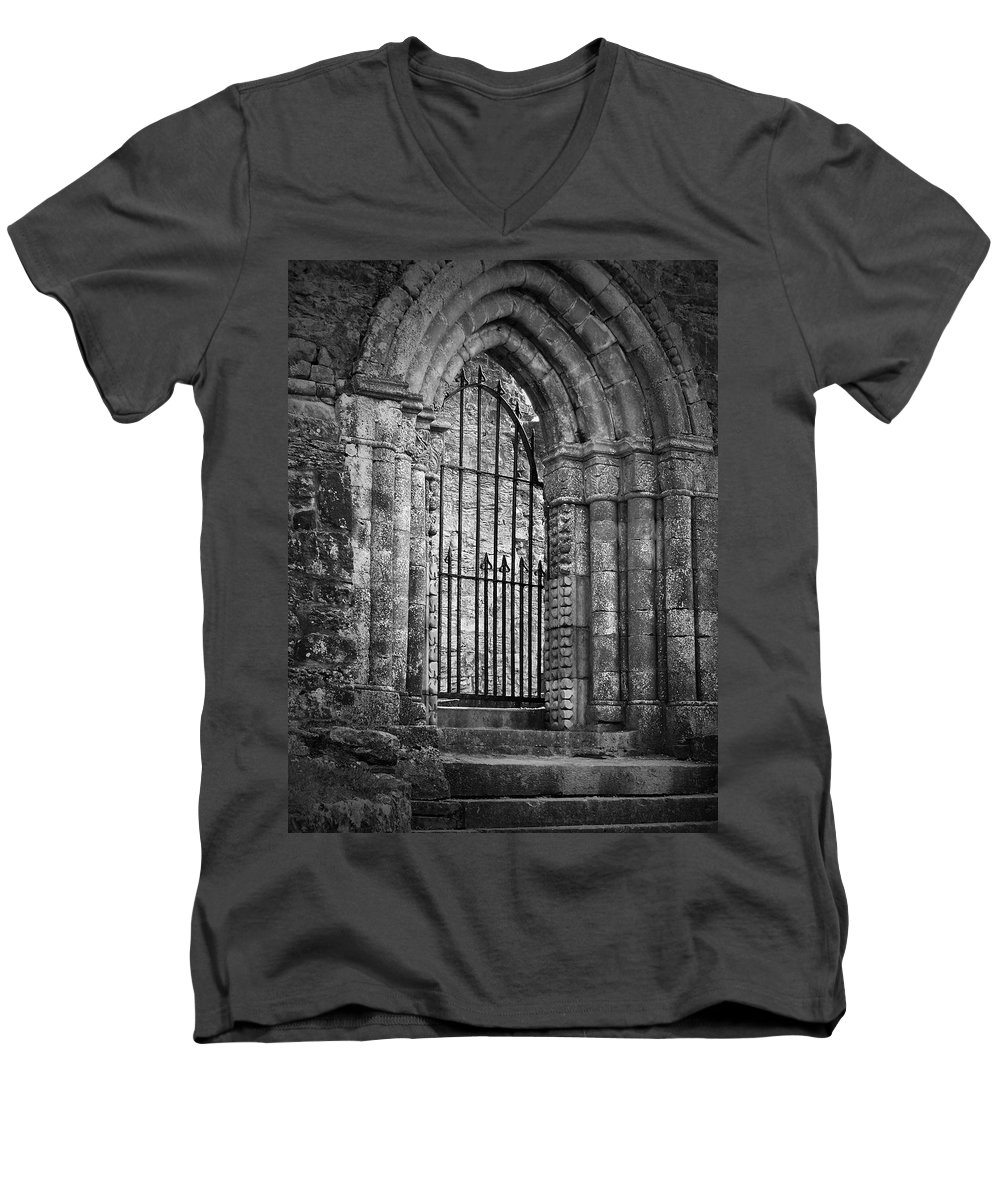 Irish Men's V-Neck T-Shirt featuring the photograph Entrance To Cong Abbey Cong Ireland by Teresa Mucha