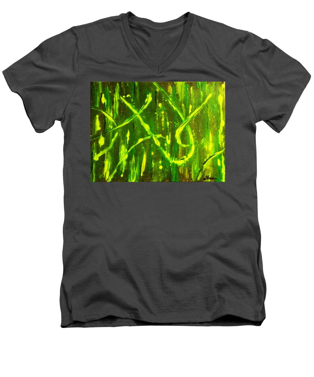 Abstract Men's V-Neck T-Shirt featuring the painting Envy by Todd Hoover