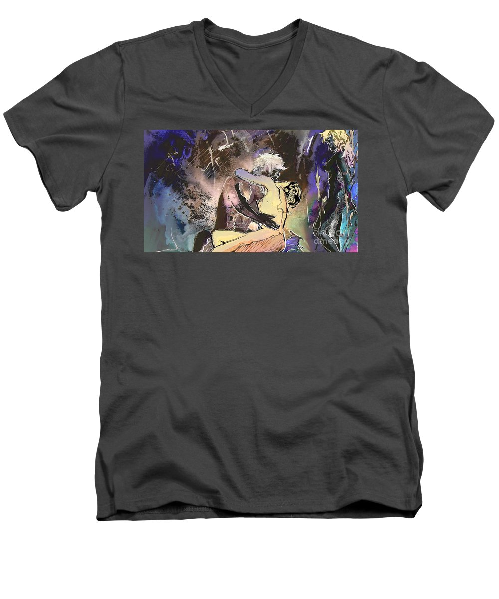 Miki Men's V-Neck T-Shirt featuring the painting Eroscape 09 2 by Miki De Goodaboom