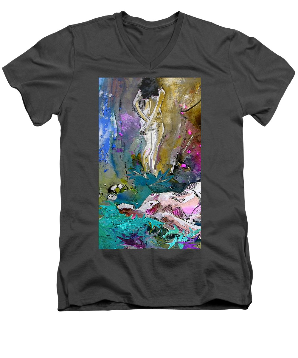 Miki Men's V-Neck T-Shirt featuring the painting Eroscape 1104 by Miki De Goodaboom