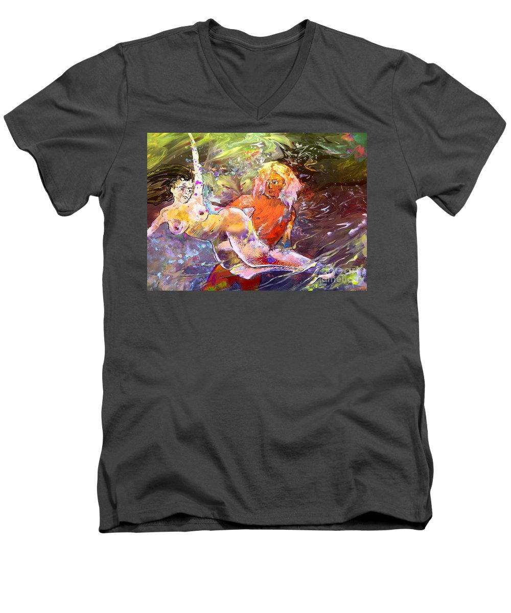 Miki Men's V-Neck T-Shirt featuring the painting Erotype 06 1 by Miki De Goodaboom