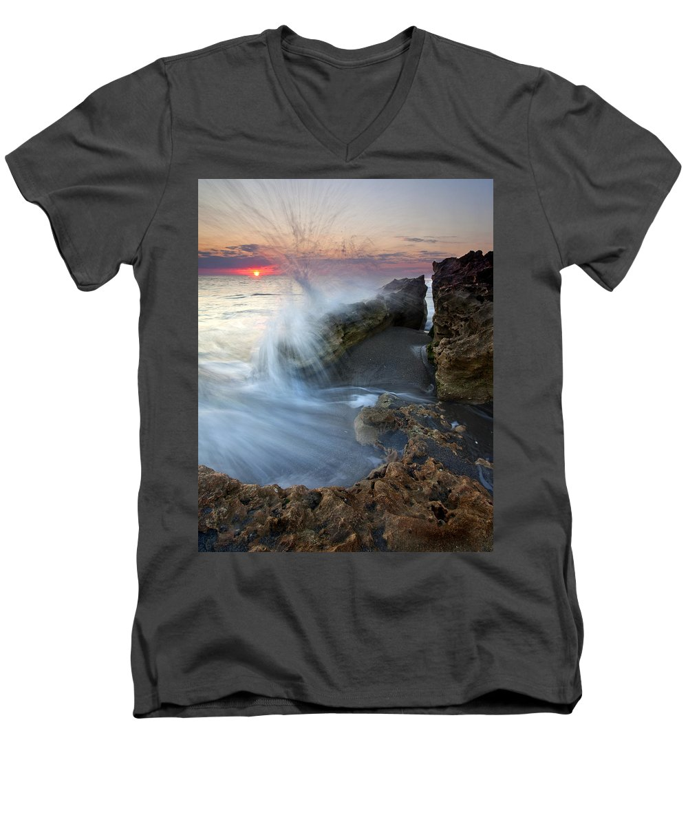 Blowing Rocks Men's V-Neck T-Shirt featuring the photograph Eruption At Dawn by Mike Dawson