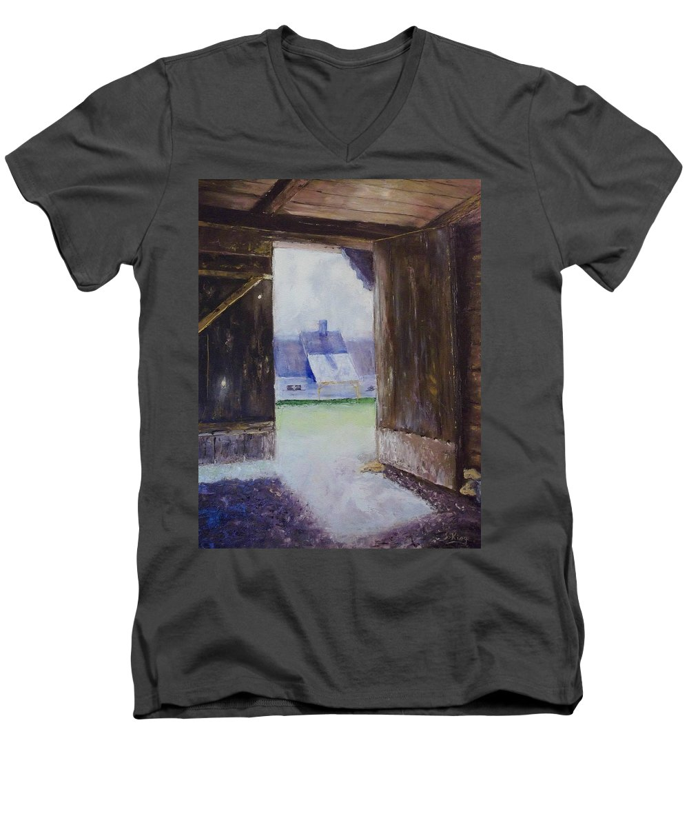 Shed Men's V-Neck T-Shirt featuring the painting Escape The Sun by Stephen King