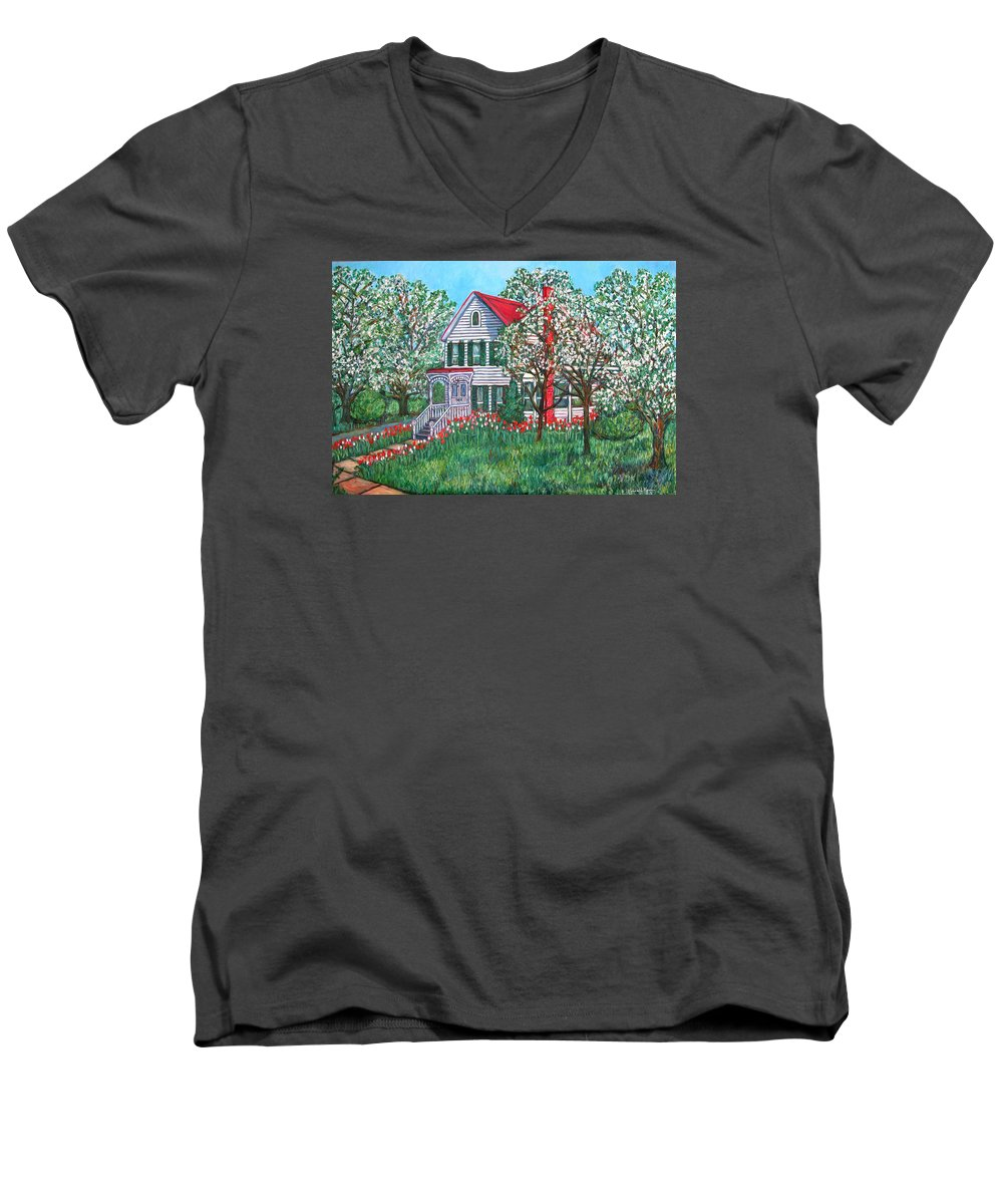 Home Men's V-Neck T-Shirt featuring the painting Esther's Home by Kendall Kessler
