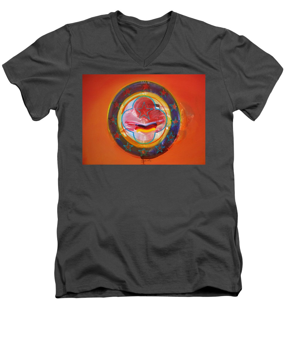 Symbol Men's V-Neck T-Shirt featuring the painting Euro Smile by Charles Stuart