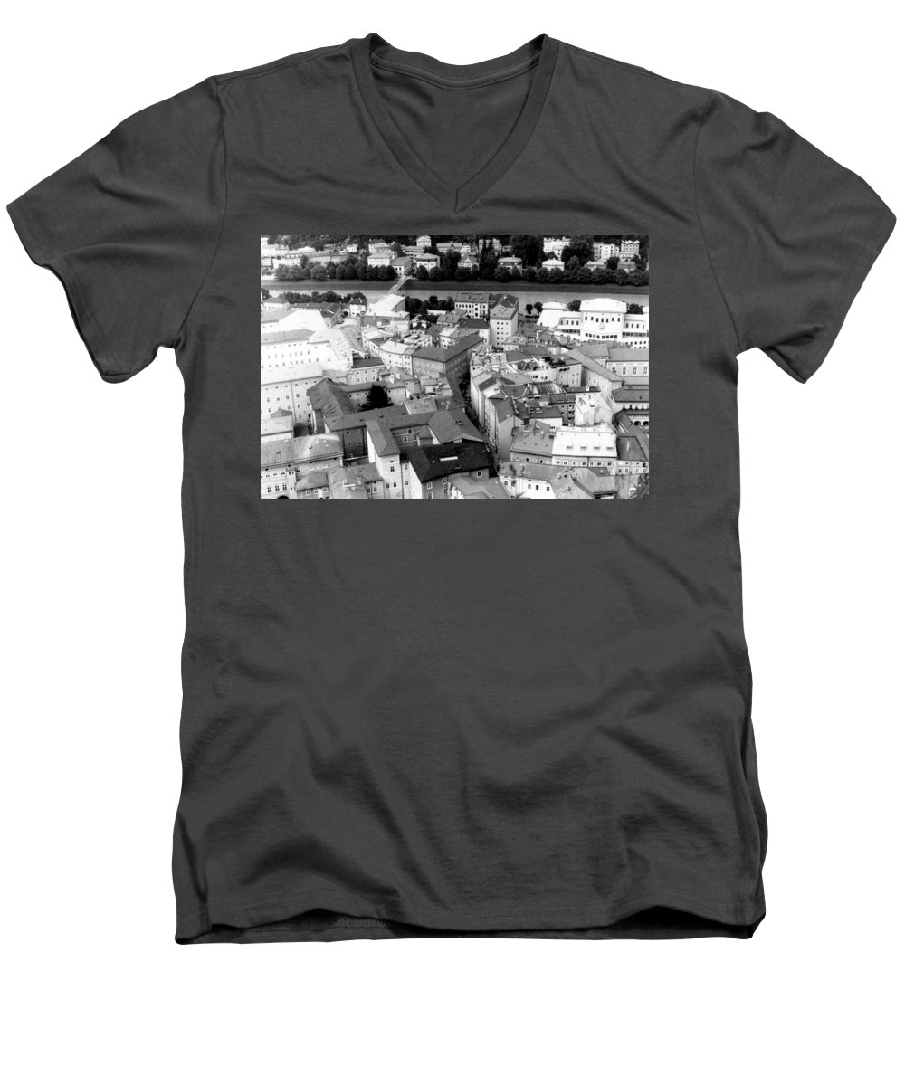 Rofftops Men's V-Neck T-Shirt featuring the photograph European Rooftops by Michelle Calkins