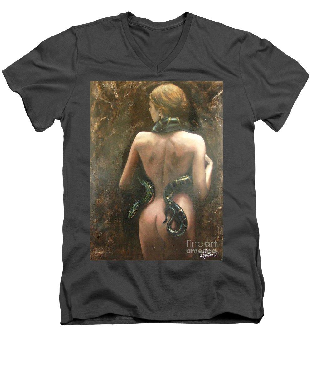 Art Men's V-Neck T-Shirt featuring the painting Eva by Sergey Ignatenko