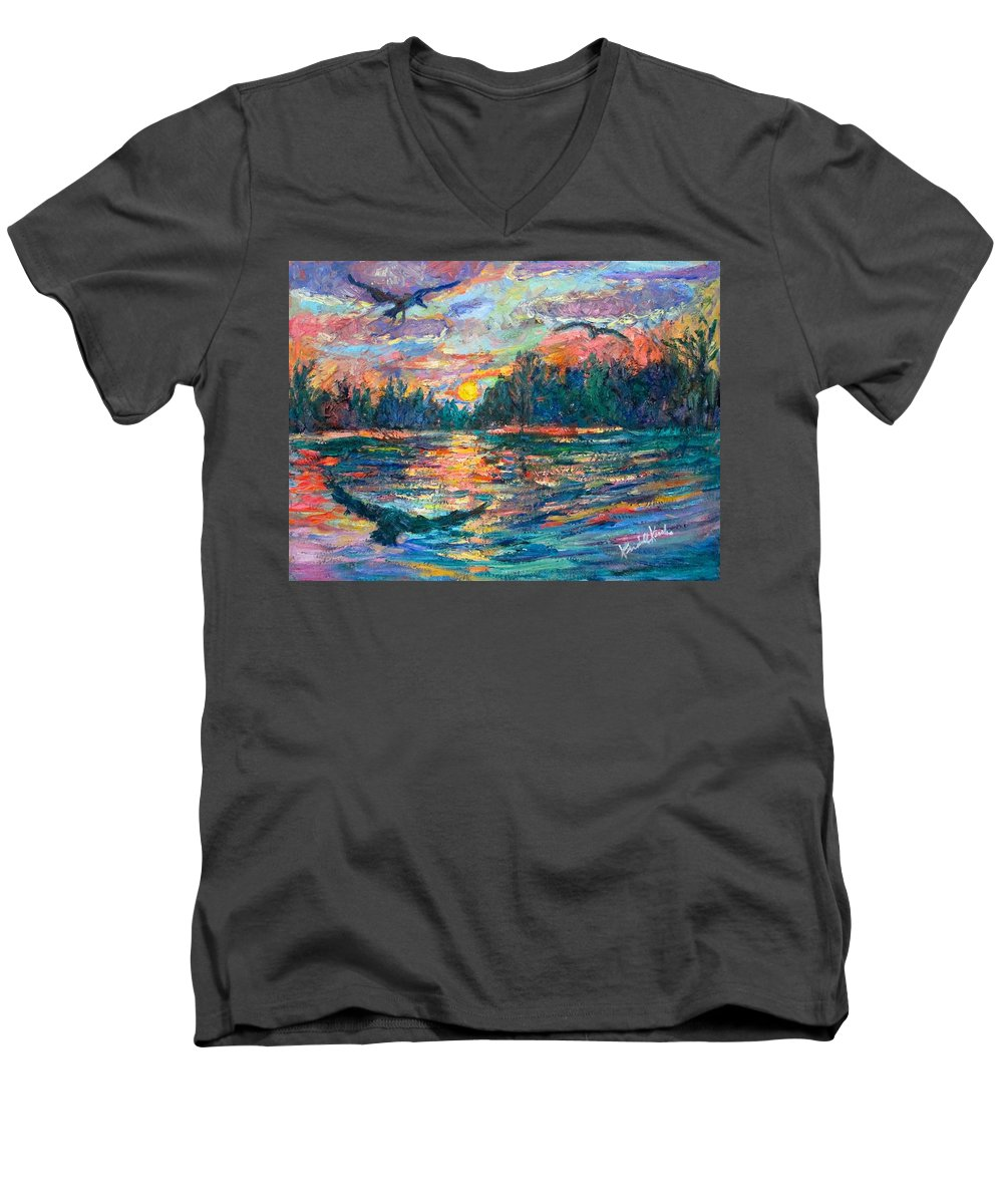 Landscape Men's V-Neck T-Shirt featuring the painting Evening Flight by Kendall Kessler