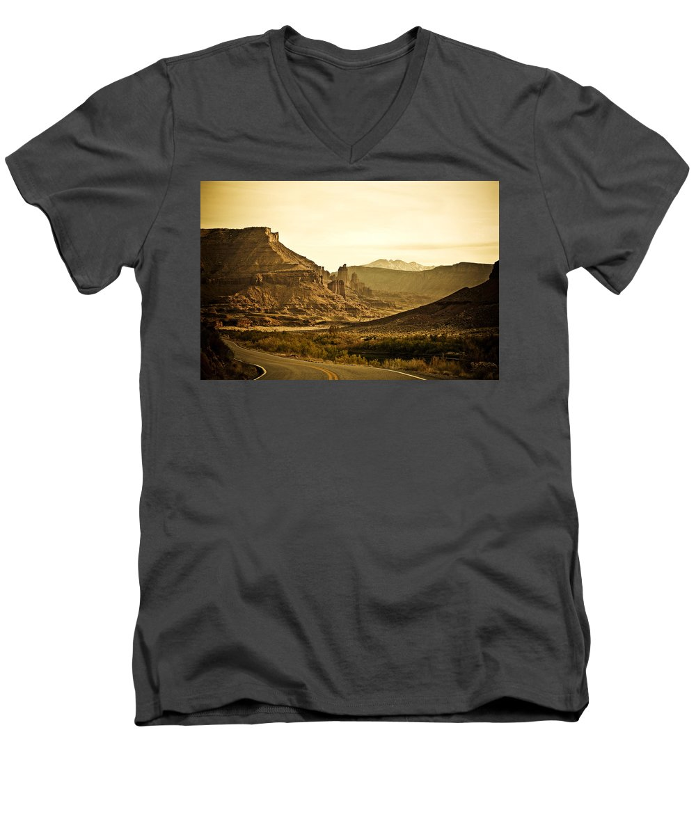 Americana Men's V-Neck T-Shirt featuring the photograph Evening In The Canyon by Marilyn Hunt
