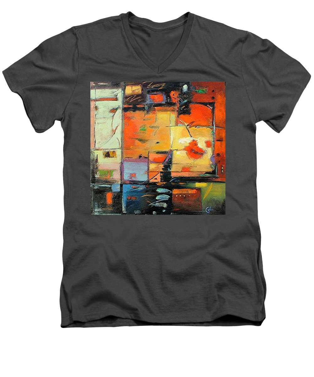 Abstract Painting Men's V-Neck T-Shirt featuring the painting Evening Light by Gary Coleman