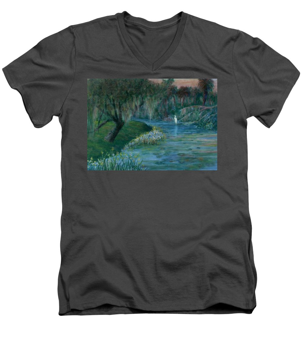 Low Country; Egrets; Lily Pads Men's V-Neck T-Shirt featuring the painting Evening Shadows by Ben Kiger