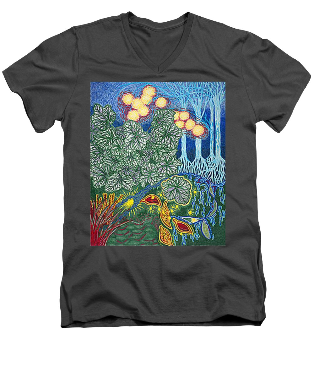 Art Men's V-Neck T-Shirt featuring the drawing Exciting Harmony Art Prints And Gifts Autumn Leaves Botanical Garden Park Plants by Baslee Troutman