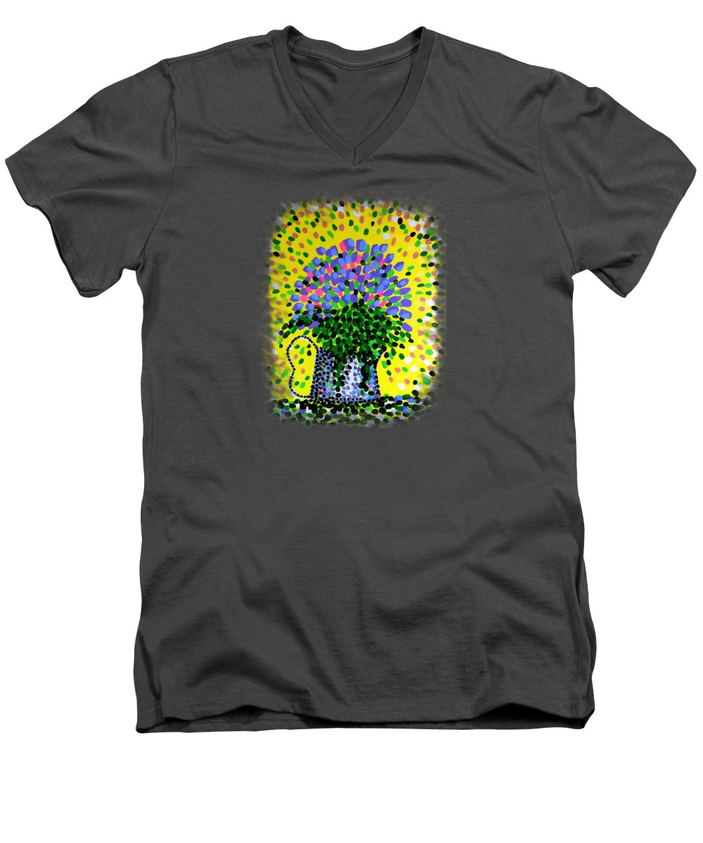 Flowers Men's V-Neck T-Shirt featuring the painting Explosive Flowers by Alan Hogan