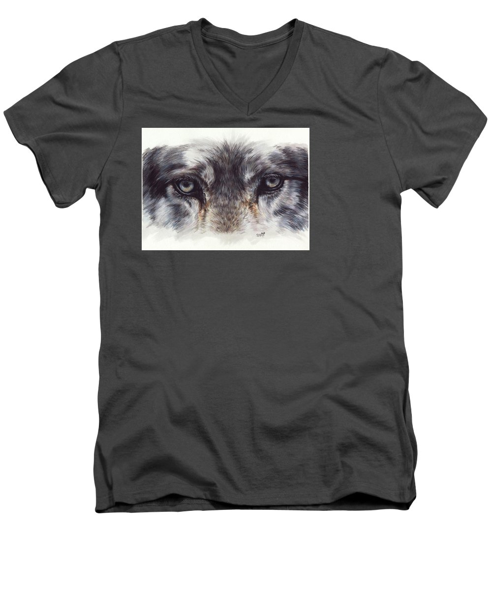 Wolf Men's V-Neck T-Shirt featuring the painting Eye-catching Wolf by Barbara Keith