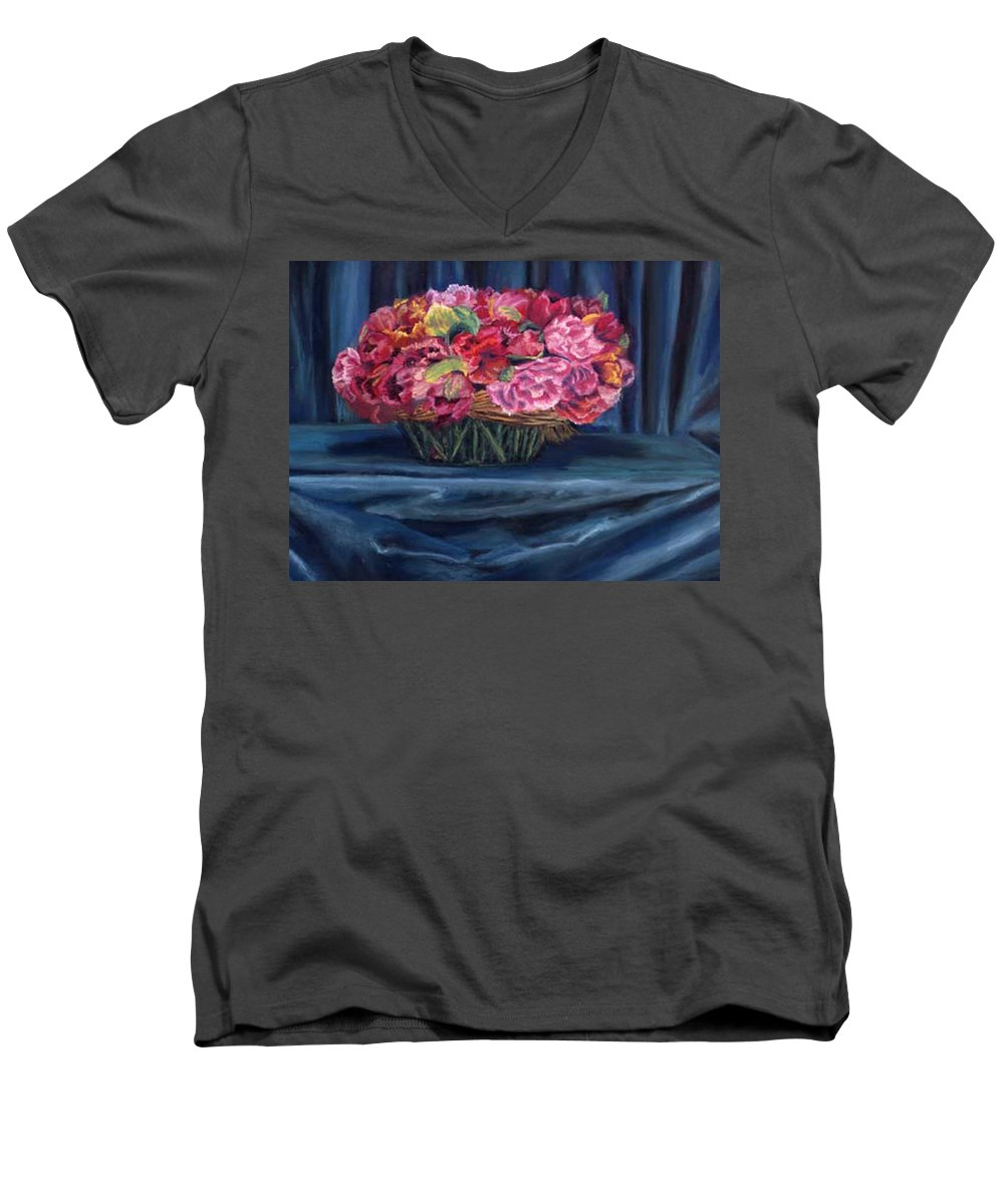 Flowers Men's V-Neck T-Shirt featuring the painting Fabric And Flowers by Sharon E Allen