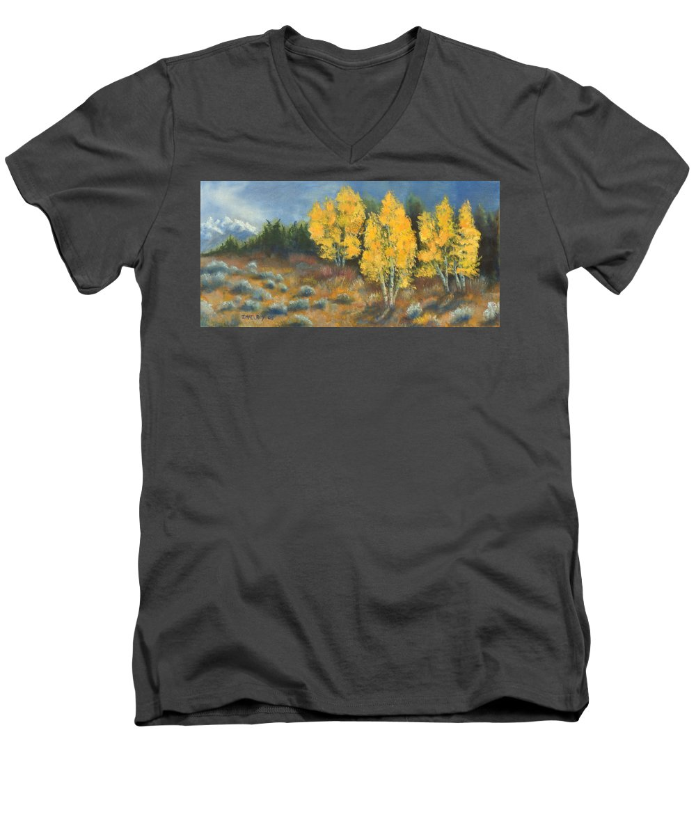 Landscape Men's V-Neck T-Shirt featuring the painting Fall Delight by Jerry McElroy