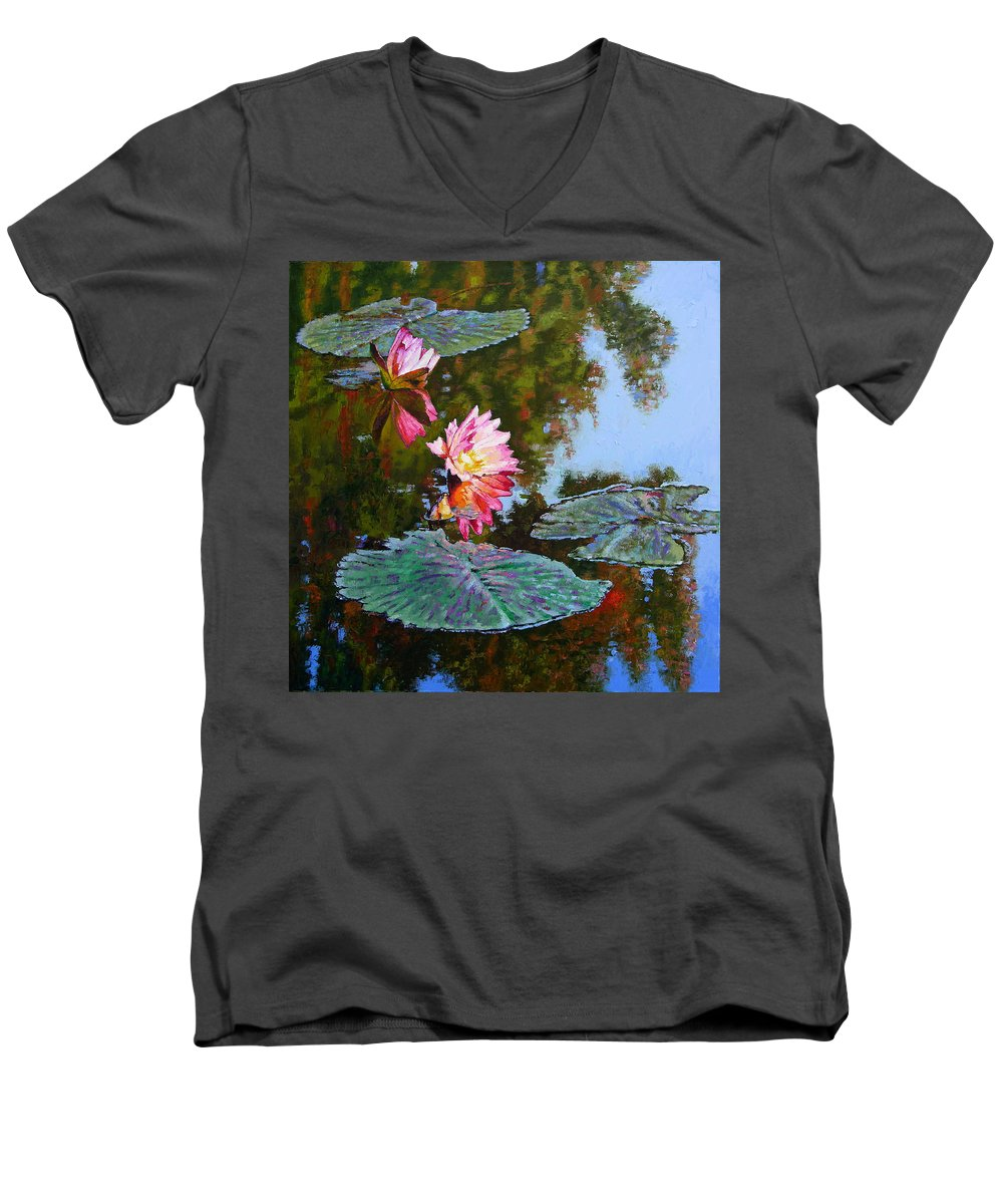 Water Lily Men's V-Neck T-Shirt featuring the painting Fall Glow by John Lautermilch